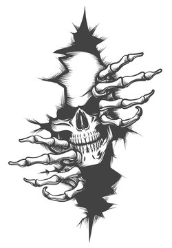 Skull Peeping Through Hole