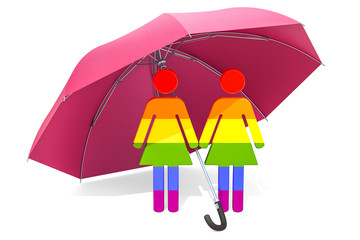 Lesbian Family under umbrella. Safety and secure concept. 3D rendering
