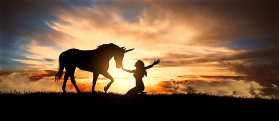 Free and happy girl caresses a unicorn on the meadow at sunset