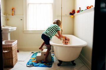 Kids bath in clawfoot tub