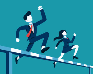 Business concept vector illustration businessman and businesswoman jumping over hurdle race for design.