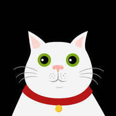 Cute cartoon white cat icon. Hello, spring. Isolated vector illustration on dark background