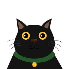 Cute black cat . Funny cartoon character. White background. Isolated. Flat design. Vector illustration