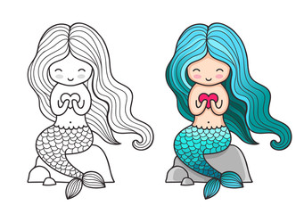 Siren with heart, sitting on a rock. Cute cartoon mermaid. Vector colored illustration for print, card, poster, t-shirt, coloring books, tattoo.