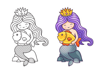 Little mermaid, sitting on a rock, holding big golden fish. Cartoon characters. Vector illustration for coloring book, print, card, postcard, poster, t-shirt, patch and tattoo