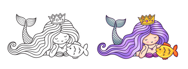 Dreamy lying princess mermaid, stroking golden fish. Cartoon characters. Vector illustration for coloring book, print, card, postcard, poster, t-shirt, patch and tattoo