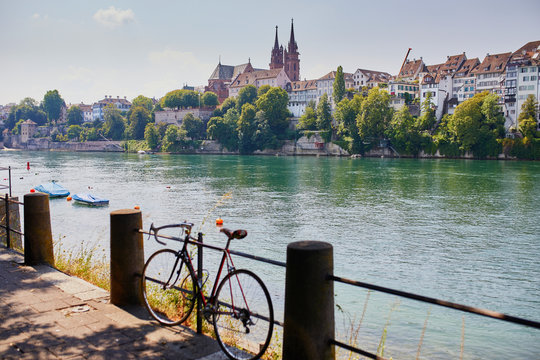 View of Rhine embankment in Basel, Switzerland