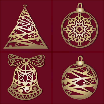 Set of openwork Gold Christmas decorations. Laser cut paper christmas bell,Christmas tree, toy . Christmas decorations for wood carving, paper cutting.
