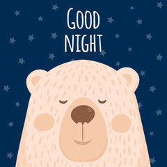 A poster of good night . A cartoon bear. Vector
