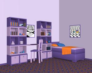 Jugendzimmer in violetten Farbtönen. Mit Schrankwand und Einzelbett aus Seitenansicht.  3d render