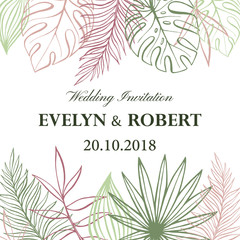 Wedding Invitation Card in pastel colors. Tropical Background. Vector Template. Fashion Graphic.