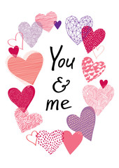 """heart8/Different hearts in a oval. Calligraphy text """"You & me""""."""