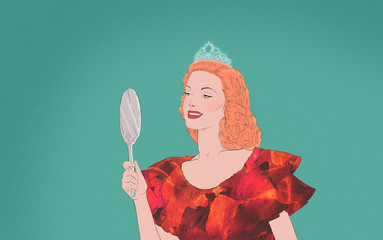 Selfish Beauty queen looks herself in the mirror