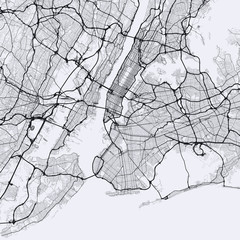 Light New York City map. Road map of New York (United States). Black and white (light) illustration of new york streets. Transport network of the Big Apple. Square format.