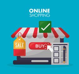 online shopping store shop buy ticket sale list vector illustration