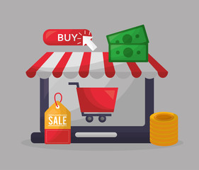 online shopping shop store sale coins car money vector illustration