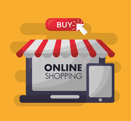 online shopping shop store smartphone buy things vector illustration