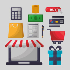 online shopping money coins credit cards calculator car shop store vector illustration
