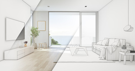 Wall Mural - Sea view living room of luxury beach house with glass door and wooden terrace. TV on white marble wall against sofa near indoor plant in vacation home or holiday villa. Hotel interior 3d illustration.