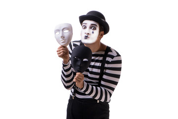 Mime with masks isolated on white background