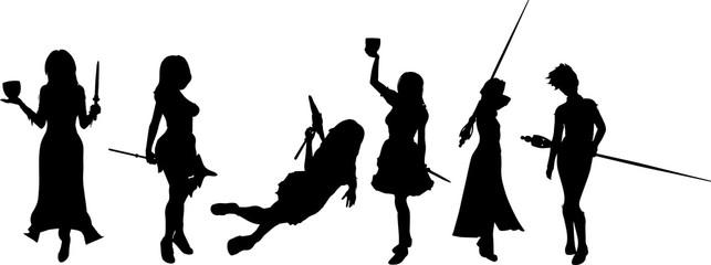 RPGに出る魔導師のシルエット