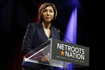 Paulette Jordan, gubernatorial candidate for Idaho, speaks at the Netroots Nation annual conference for political progressives in New Orleans