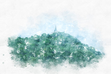 Mountain hill on watercolor painting background
