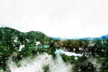 Beautiful mountain landscape in Thailand on watercolor painting background.
