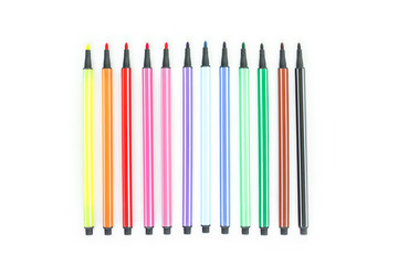 Fototapete - Colorful pens isolated on white background.