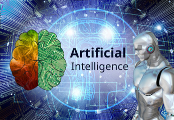 Concept of  Artificial intelligence, Technology and engineering, Industry 4.0 concept.