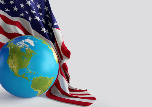 USA United states of America world globe with american flag 3d-illustration. elements of this image furnished by NASA