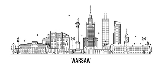 Wall Mural - Warsaw skyline Poland city buildings vector