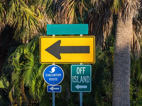 Hurricane Evacuation Route Sign with arrow, Florida