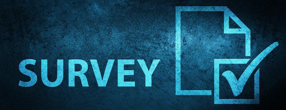 Survey special blue banner background