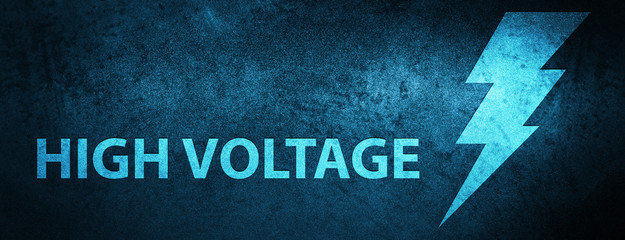 High voltage (electricity icon) special blue banner background