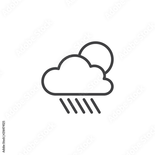 Cloud rain and sun outline icon  linear style sign for