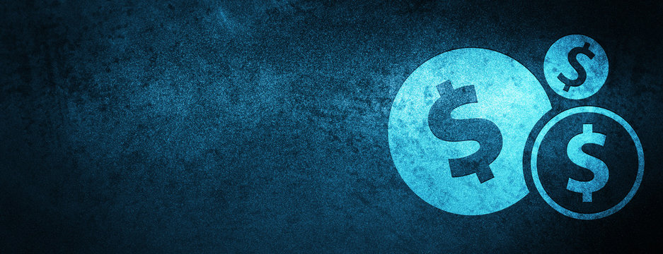 Finances dollar sign icon special blue banner background