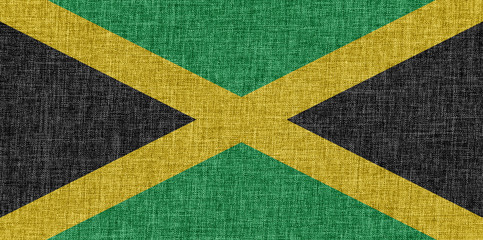 Flag of Jamaica on fabric