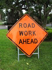 Road Work Ahead Orange Metal Sign