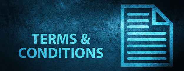 Terms and conditions (page icon) special blue banner background