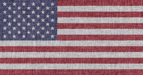 Flag of USA on fabric