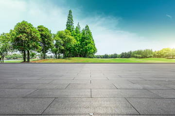 Empty square floor and green trees natural landscape Wall mural