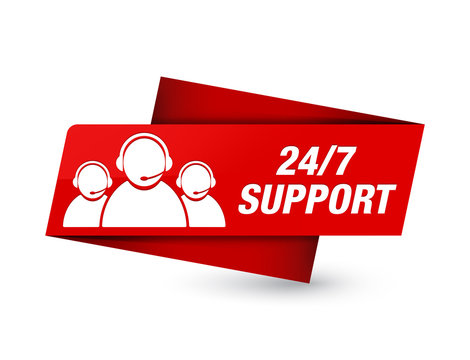 24/7 Support (customer care team icon) premium red tag sign