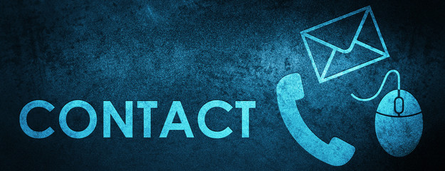 Contact (phone email and mouse icon) blue special banner background
