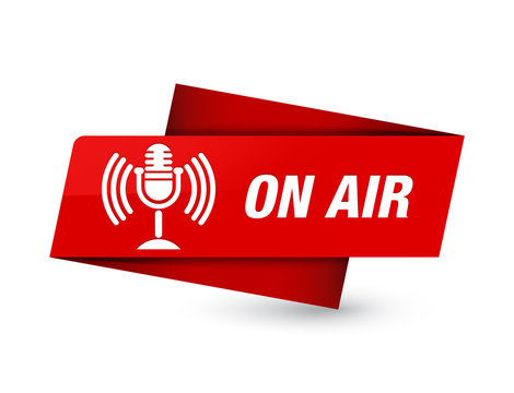 On air (mic icon) premium red tag sign