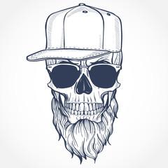Angry skull with beard