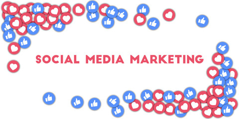 Social media marketing. Social media icons in abstract shape background with scattered thumbs up