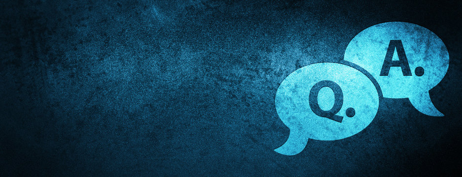 Question answer bubble icon special blue banner background