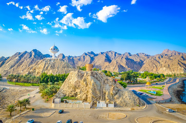 Beautiful aerial view of the majestic frankincense burner monument and mountains. From Muscat, Oman.