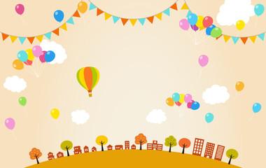 秋の街並みと風船|フェスティバル